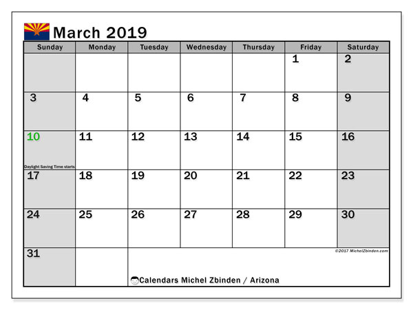 Blank Calendar Pages March 2019