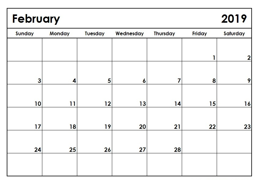 February 2019 Calendar PDF Word Excel Template