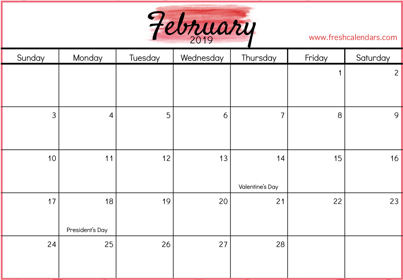 graphic relating to February Printable Calendar called Blank Every month Calendar February 2019 - Obtain Free of charge