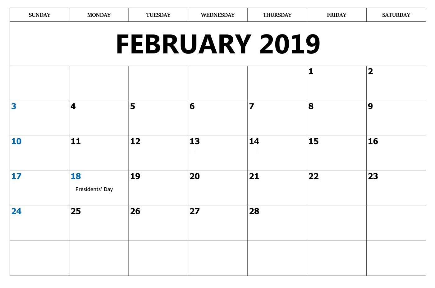 image relating to Calendar February Printable named Calendar February 2019 Template - Down load No cost Printable