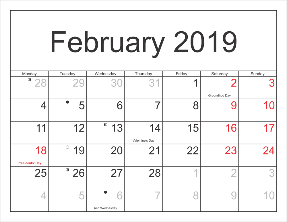 Calendar February 2019 With Holidays