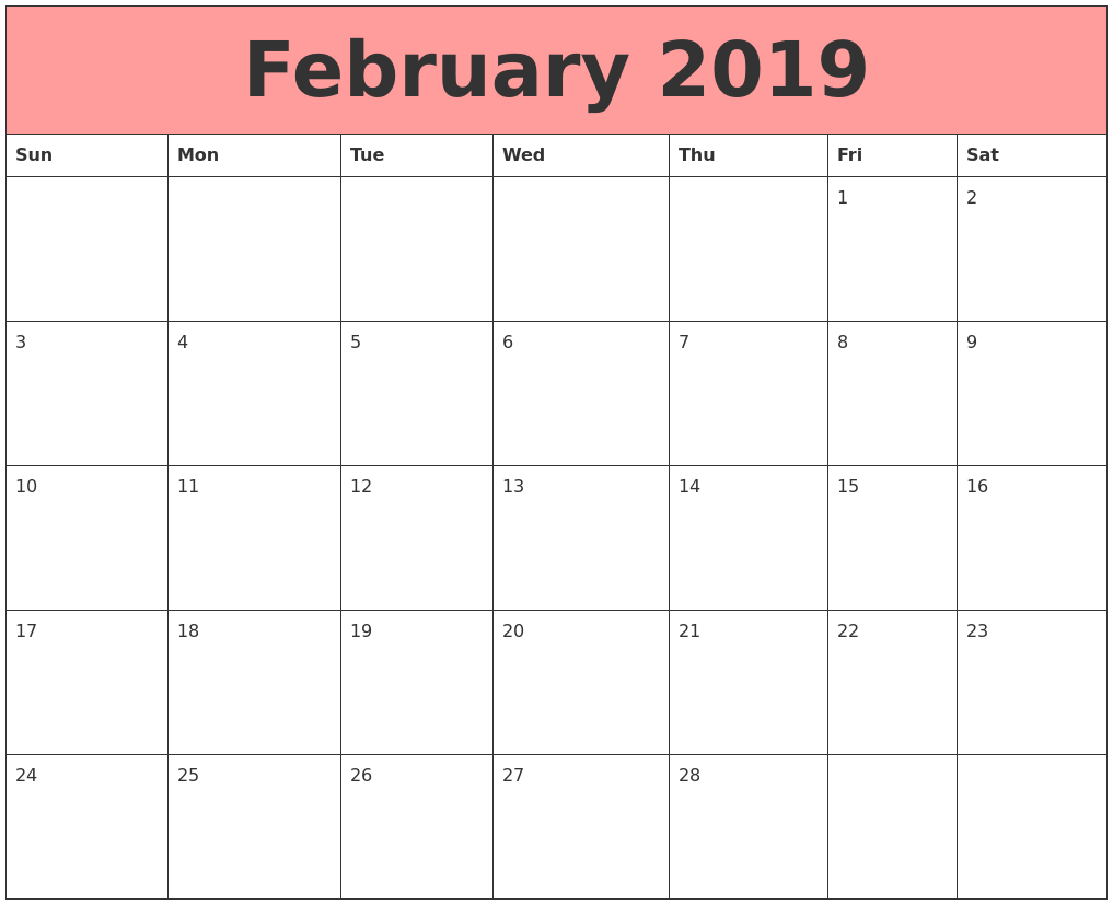 picture relating to Printable Calendar Feb. named Calendar February 2019 Phrase - Down load No cost Printable