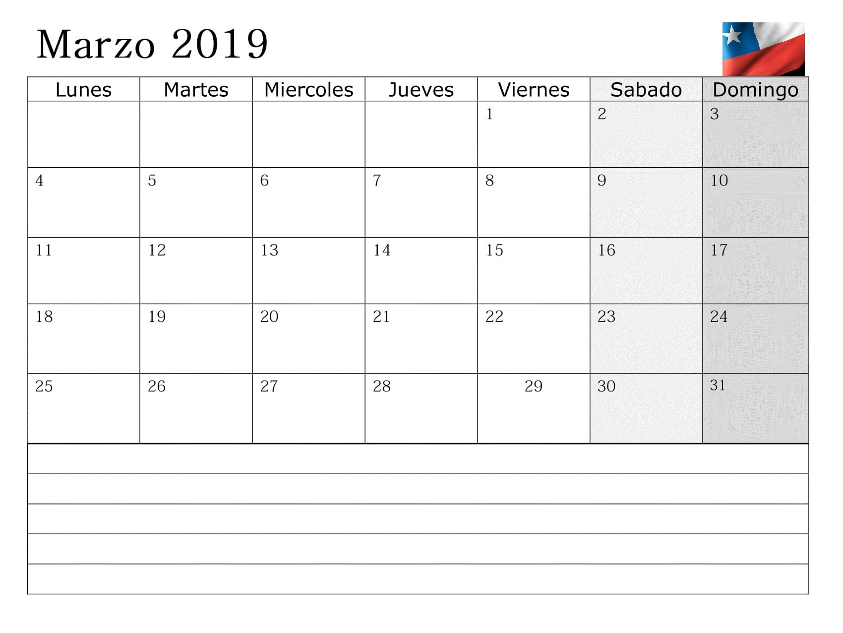 Calendario 2019 Chile Marzo Con Notas