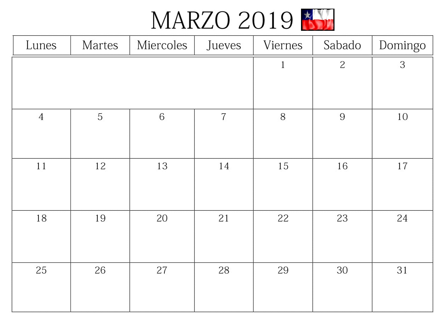 Calendario 2019 Marzo Chile Blanco