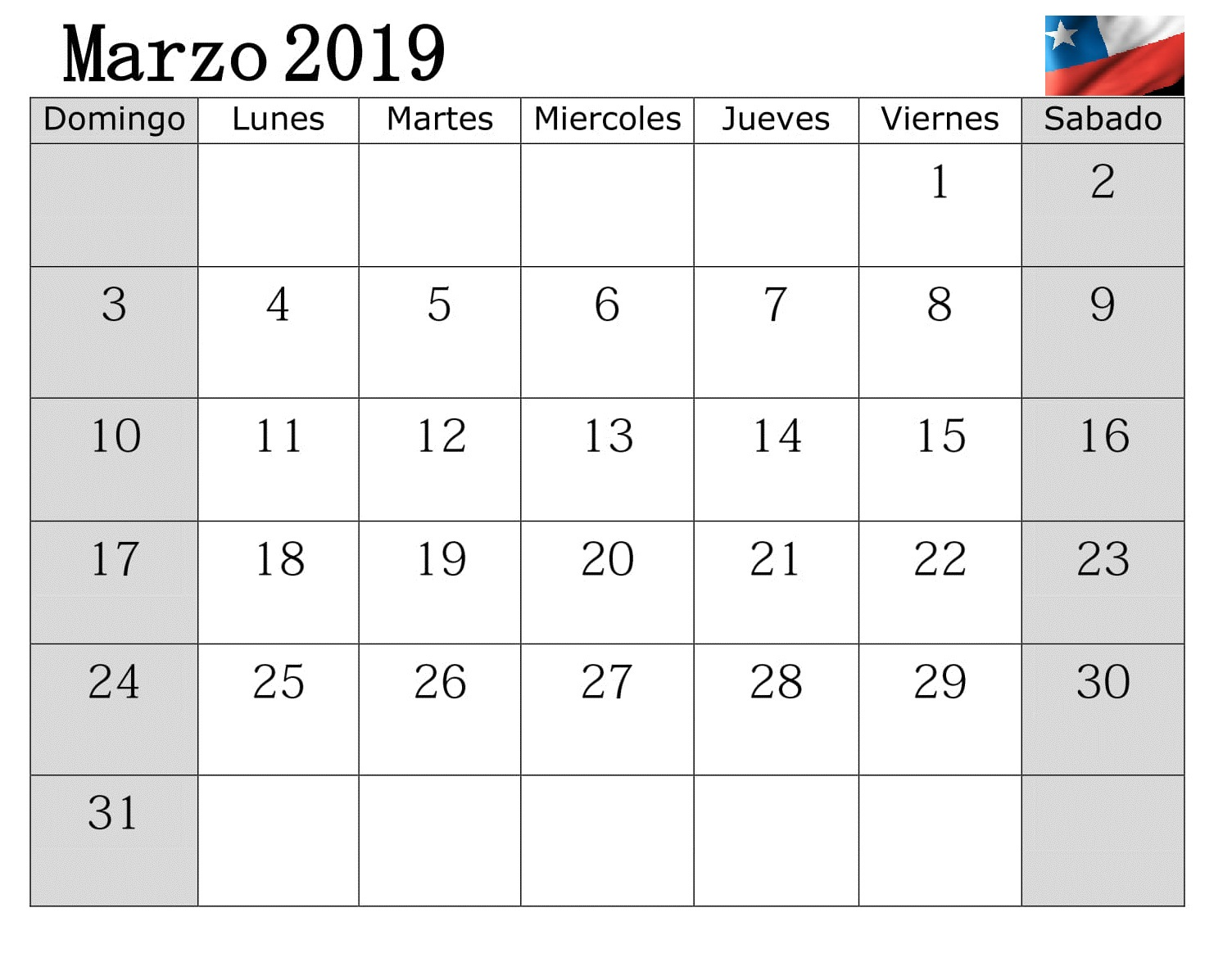 Calendario Chile 2019.Calendario 2019 Marzo Chile Con Festivos Download Free