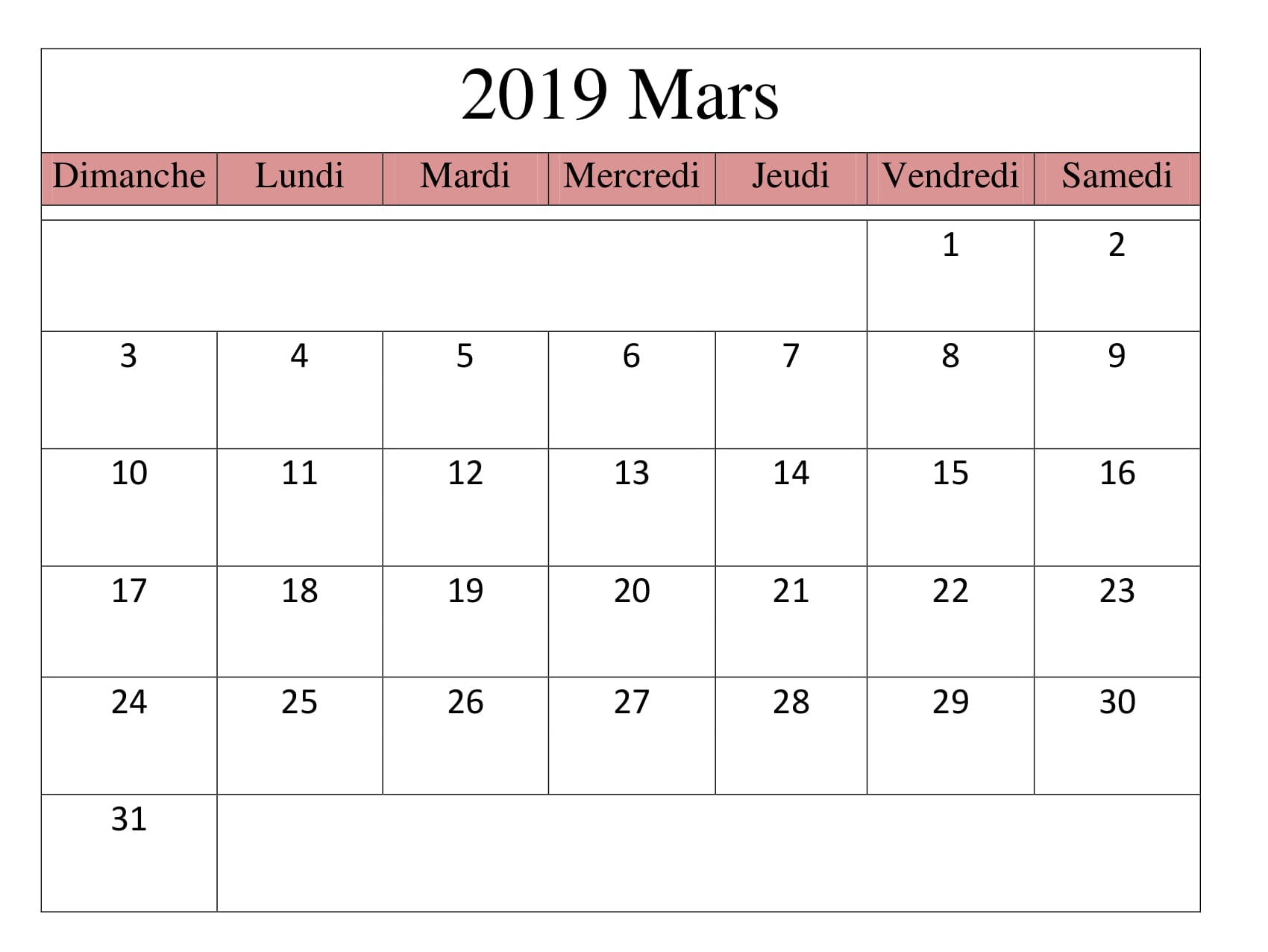 Calendrier 2019 Free.Calendrier 2019 Mars Pdf Mensuel Download Free Printable