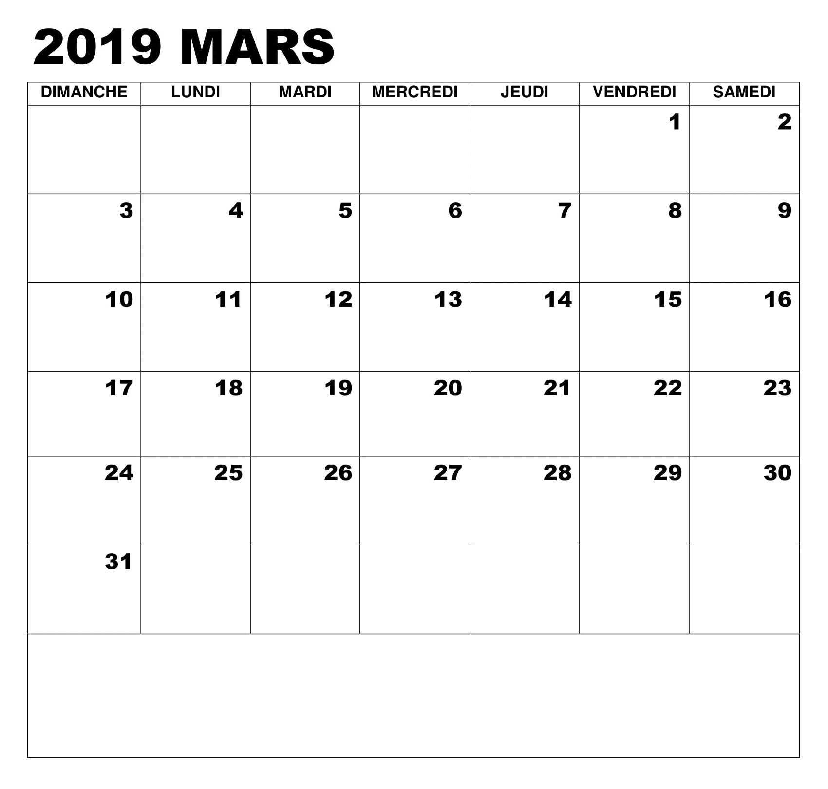 Calendrier 2019 PDF Mars Avec Notes