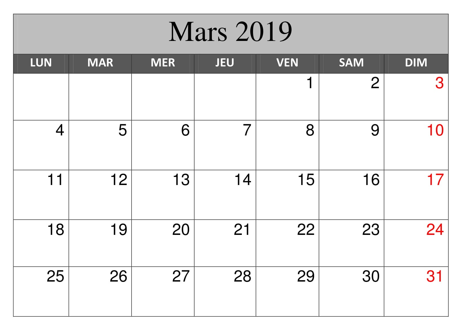 Calendrier Mars 2019 Modes
