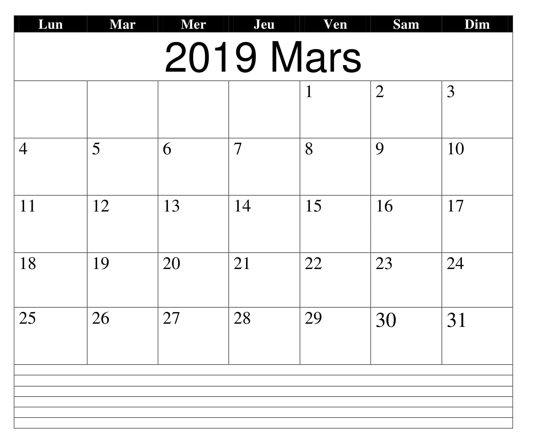 Calendrier Mars 2019 Word Notes