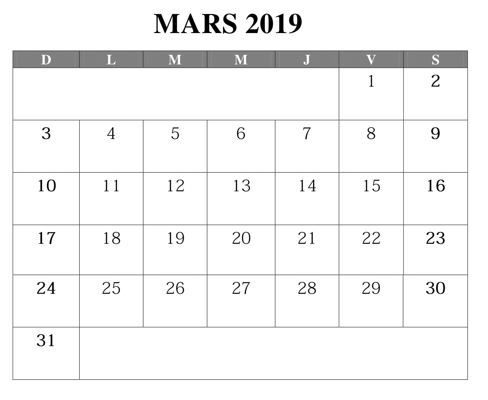 Calendrier Mars Avec Notes 2019