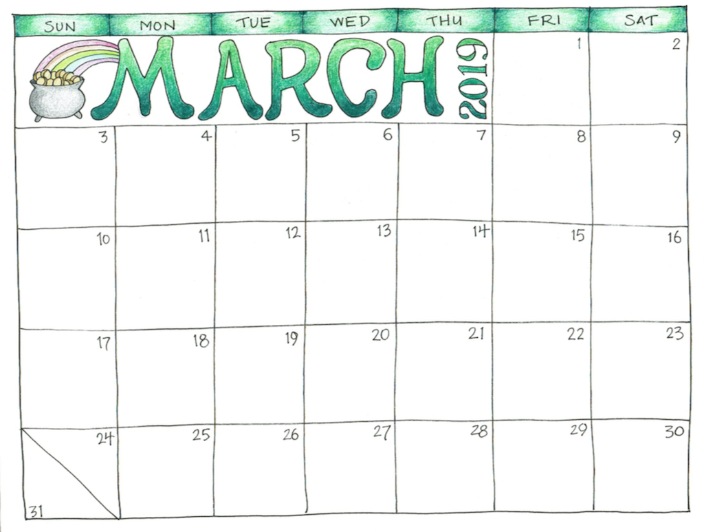 Cute March 2019 Calendar for Kids