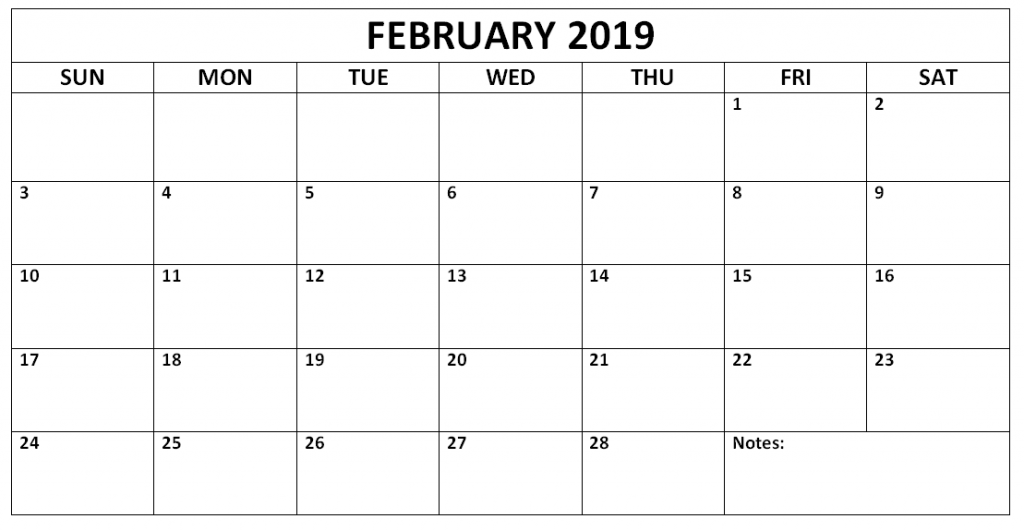 Editable February 2019 Monthly Calendar
