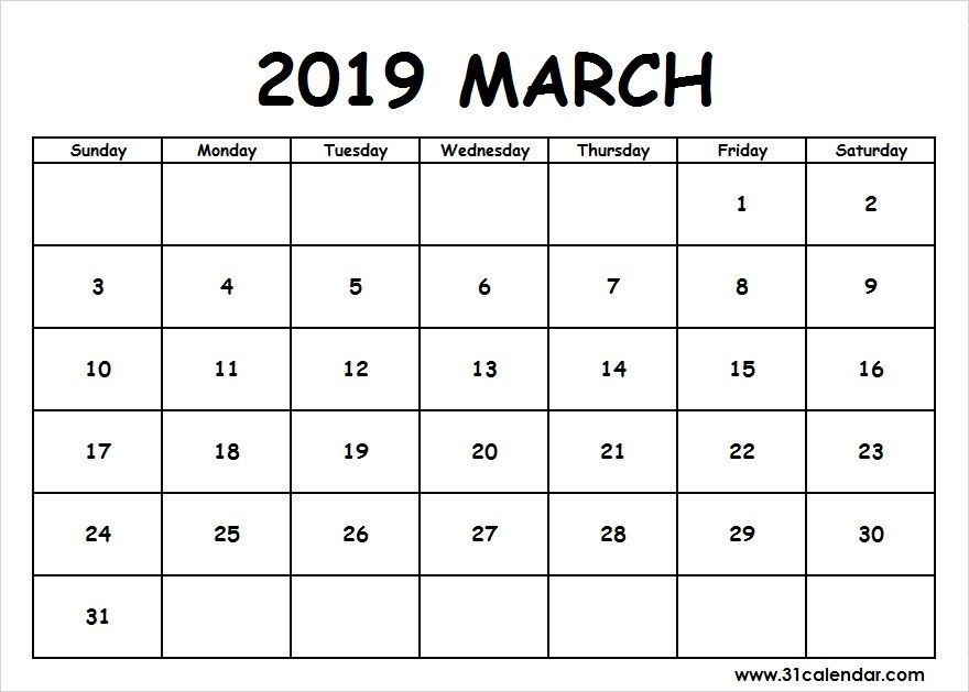 Editable March 2019 Calendar Pdf Download Free Printable