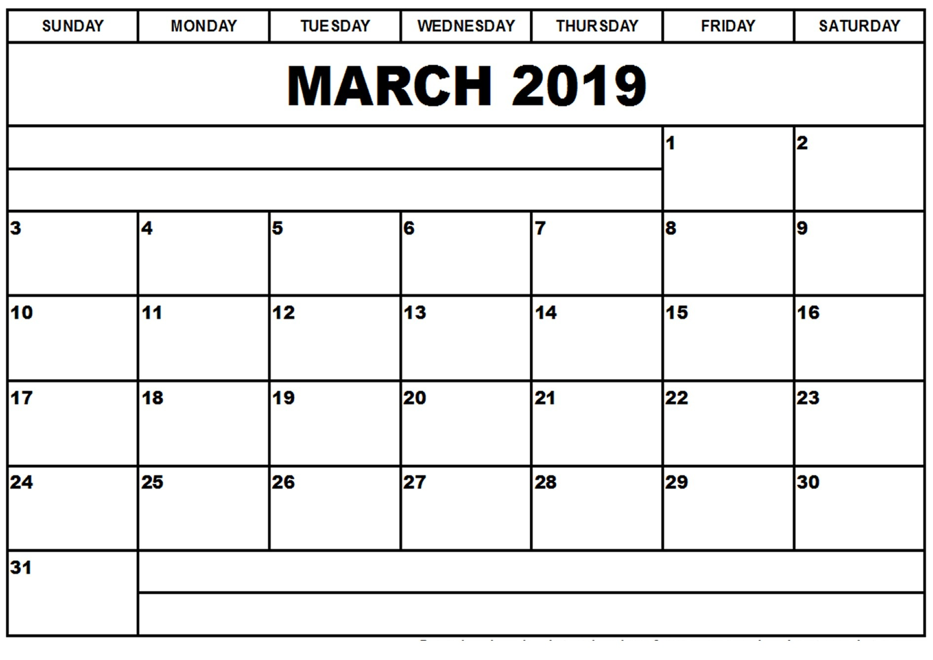 Editable March 2019 Calendar Template