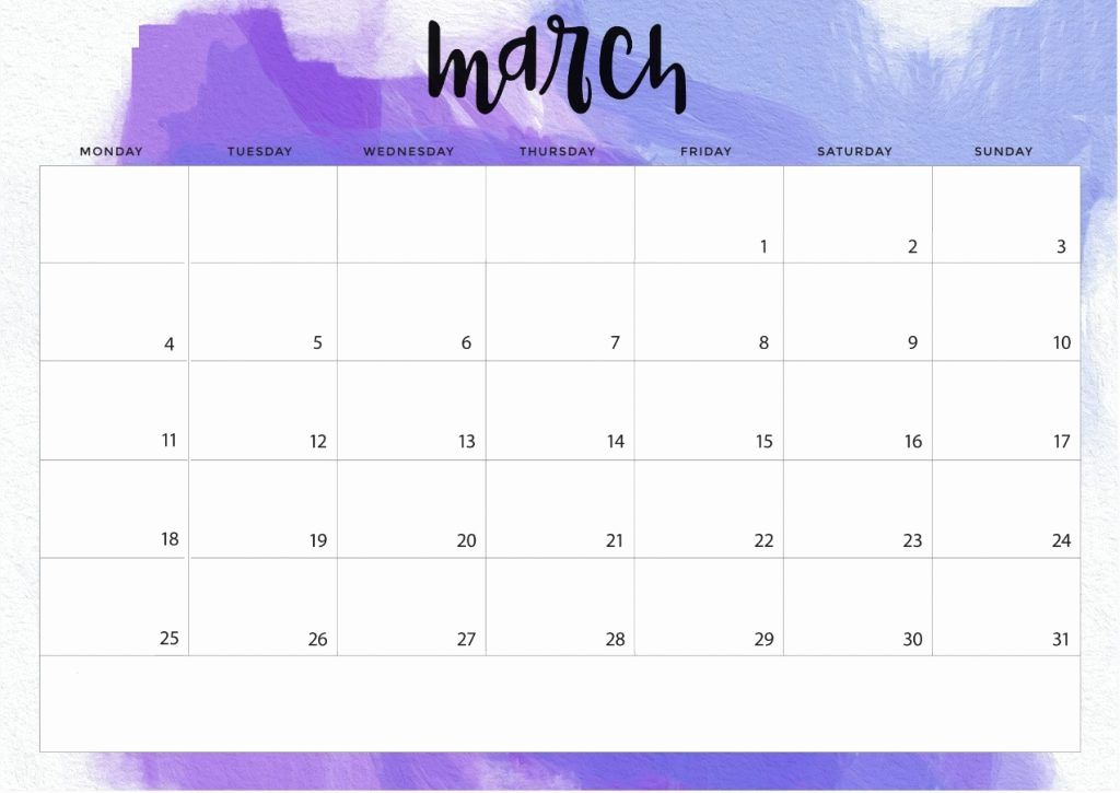 Editable March 2019 Printable Desk Calendar