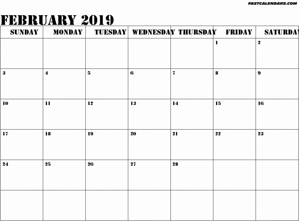 February 2019 Monthly Calendar Printable