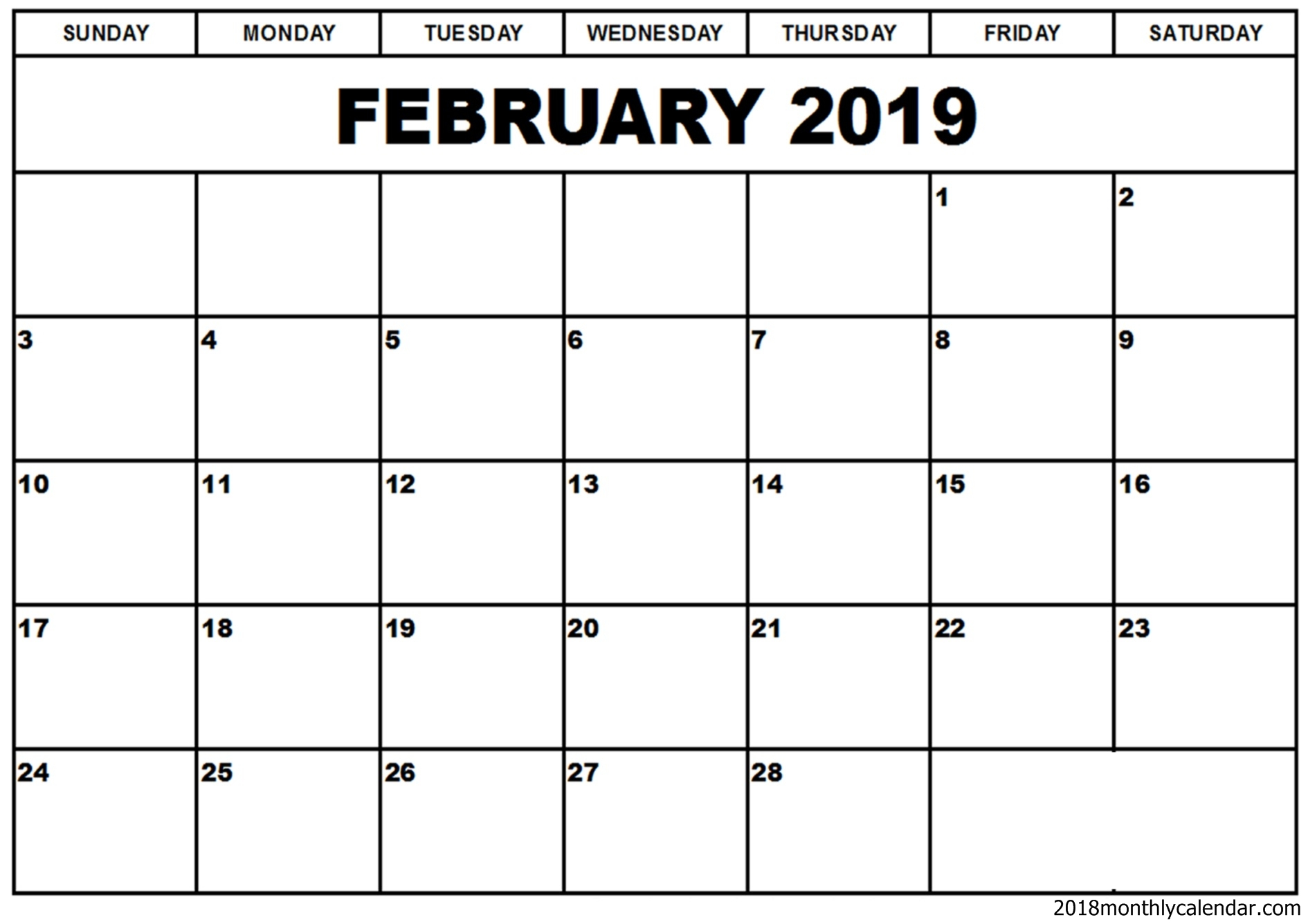 Download February Calendar 2019 February 2019 Monthly Calendar   Download Free Printable Calendar