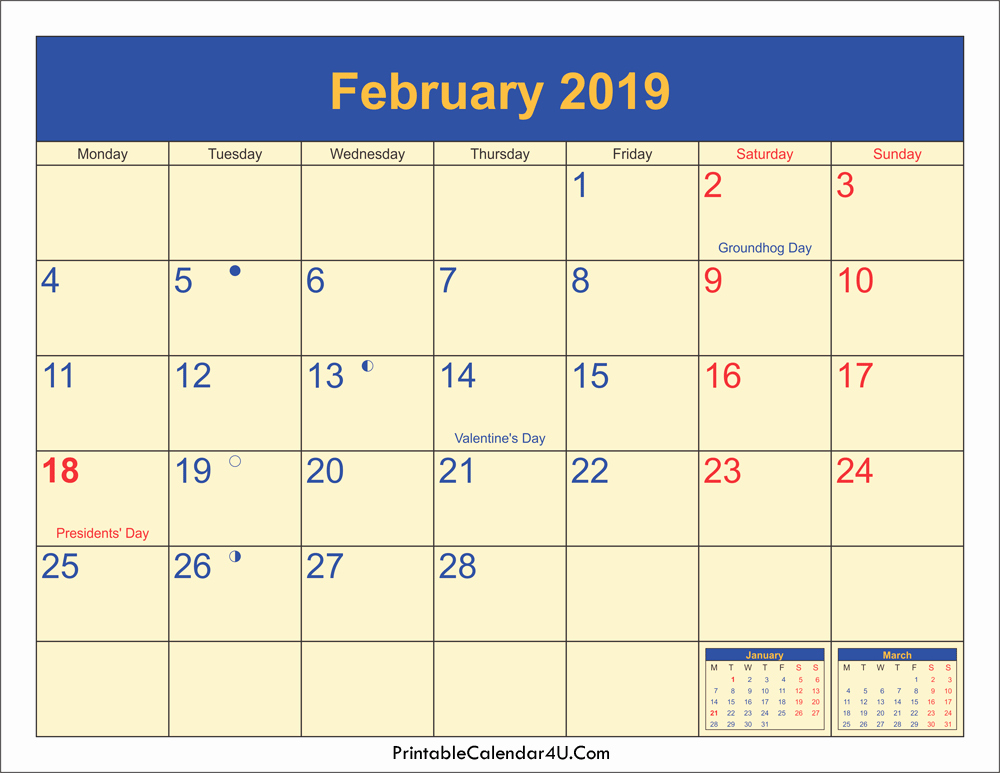 February 2019 Moon Phases With Holidays