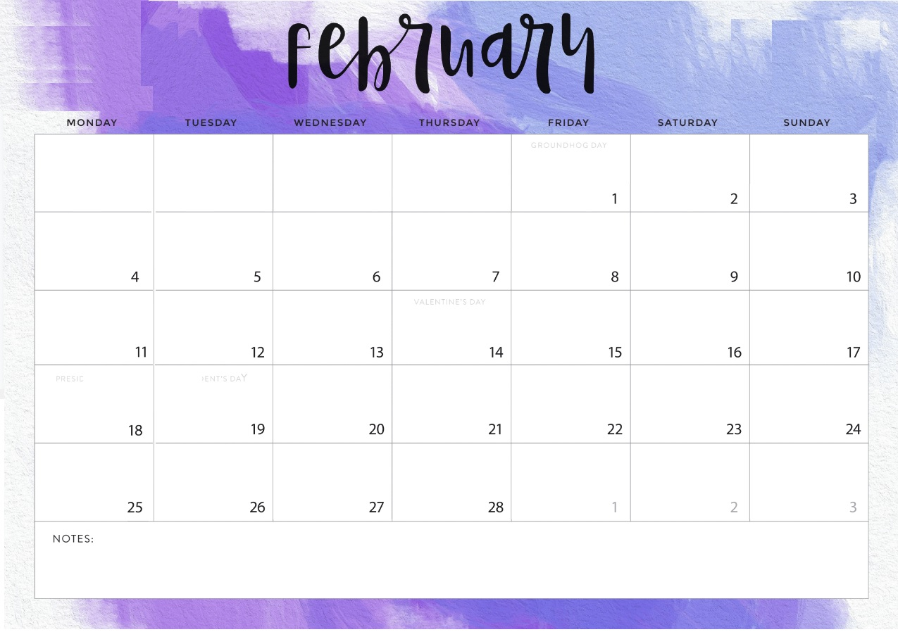 picture relating to Printable Calendar Cute known as February 2019 Printable Calendar Lovable - Down load Absolutely free