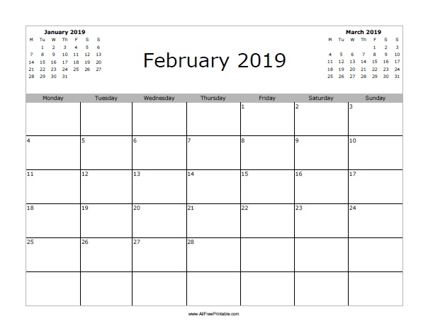 February 2019 Printable Calendar Portrait