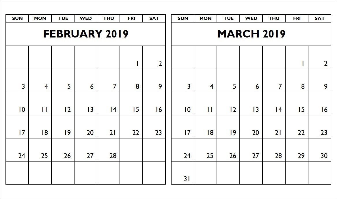 February March 2019 Two Month Calendar
