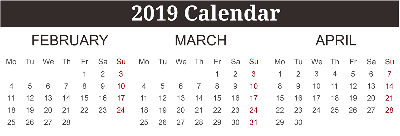 Free February March April 2019 Calendar Printable Template