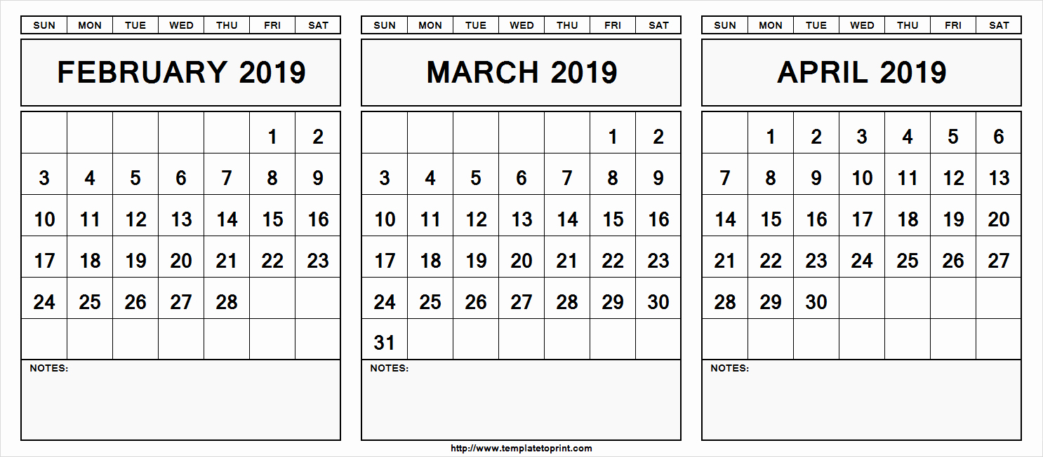 February March April 2019 Calendar Printable Download Free