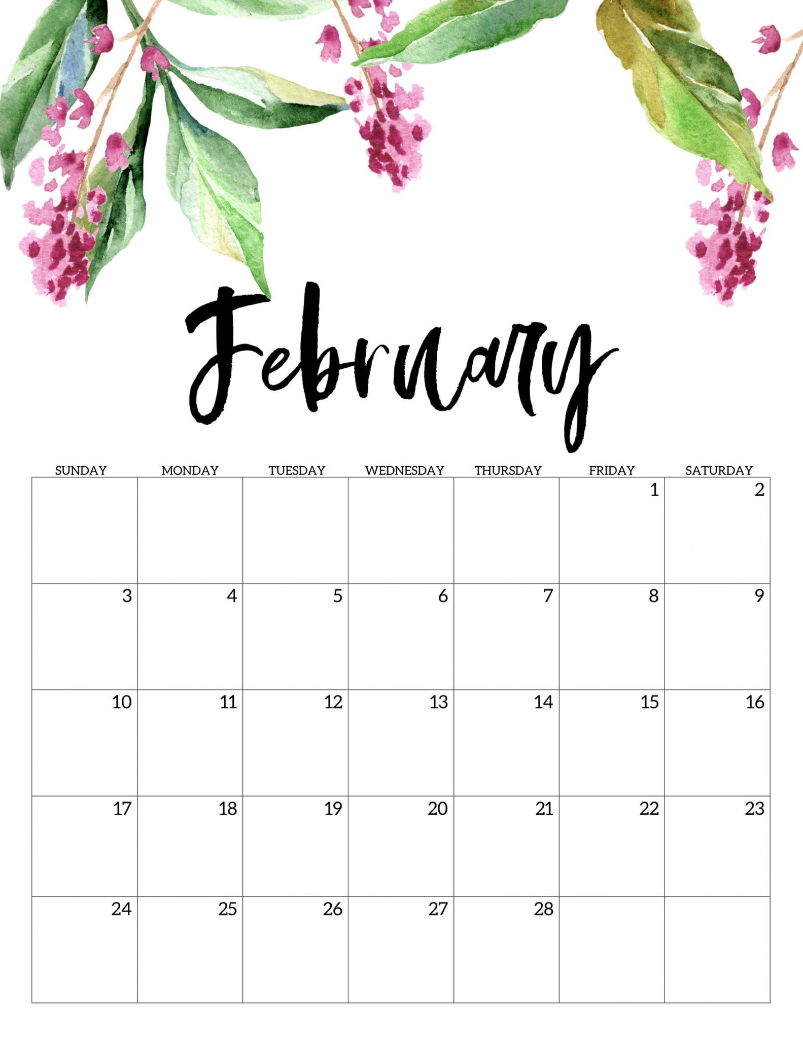 image about Printable Calendar February identified as Floral February 2019 Table Wall Calendar