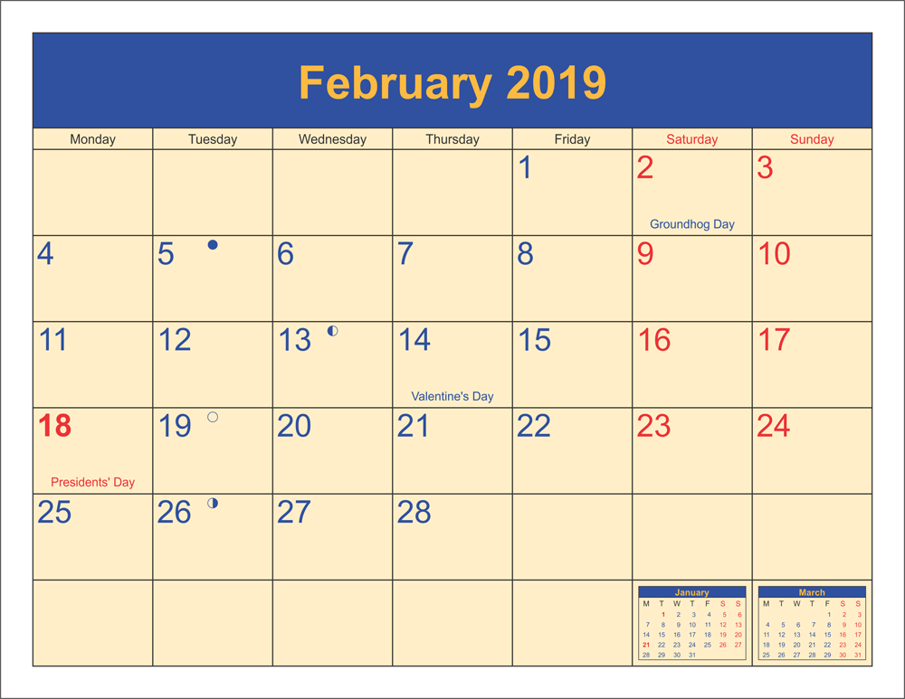 Free Printable Calendar February 2019 with Holidays