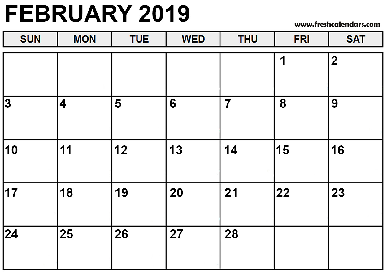 photograph regarding Printable Feb Calender known as Totally free Printable February 2019 Calendar Blank - Down load Absolutely free