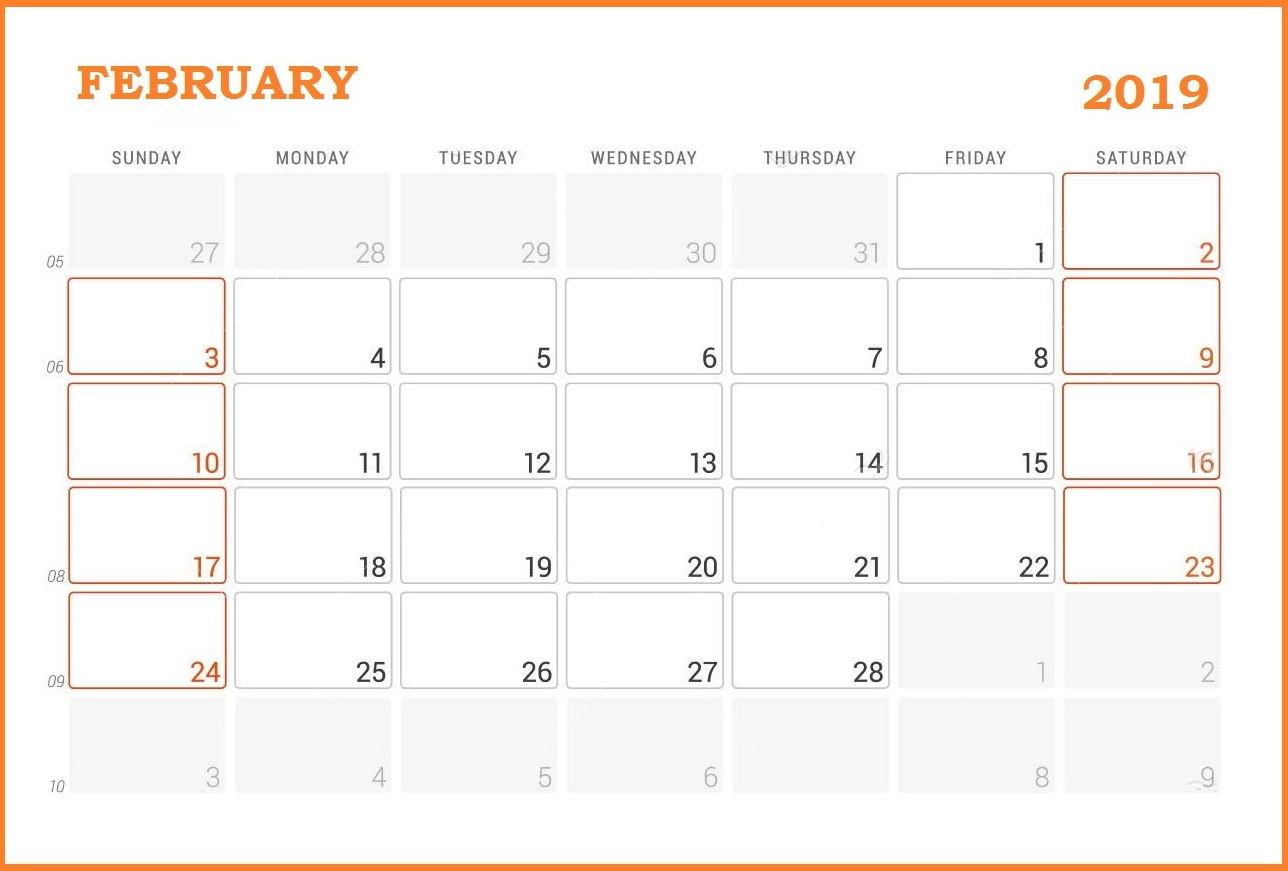 February 2019 Monthly Calendar With Holidays Notes