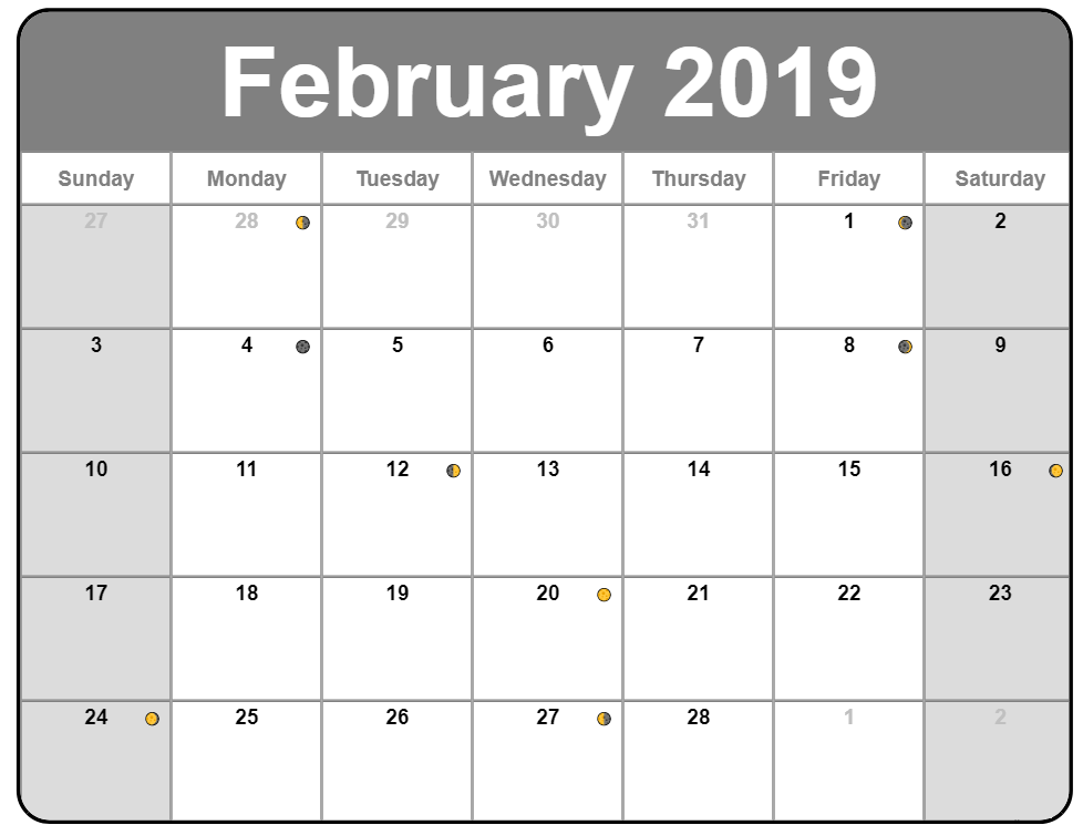 Full Moon Calendar February 2019 - Download Free Printable
