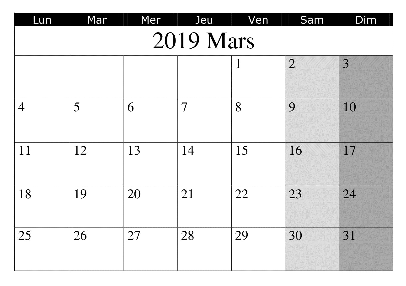 Imprimable Calendrier 2019 Mars