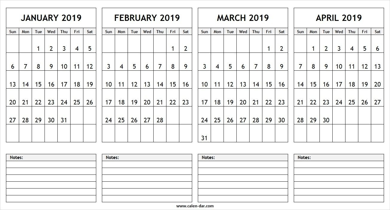 January February March April 2019 Calendar