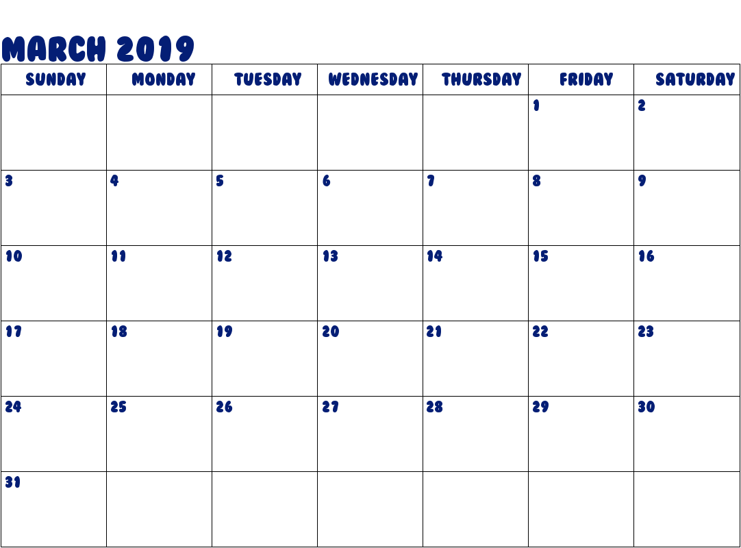 March 2019 Calendar Editable Download Free Printable