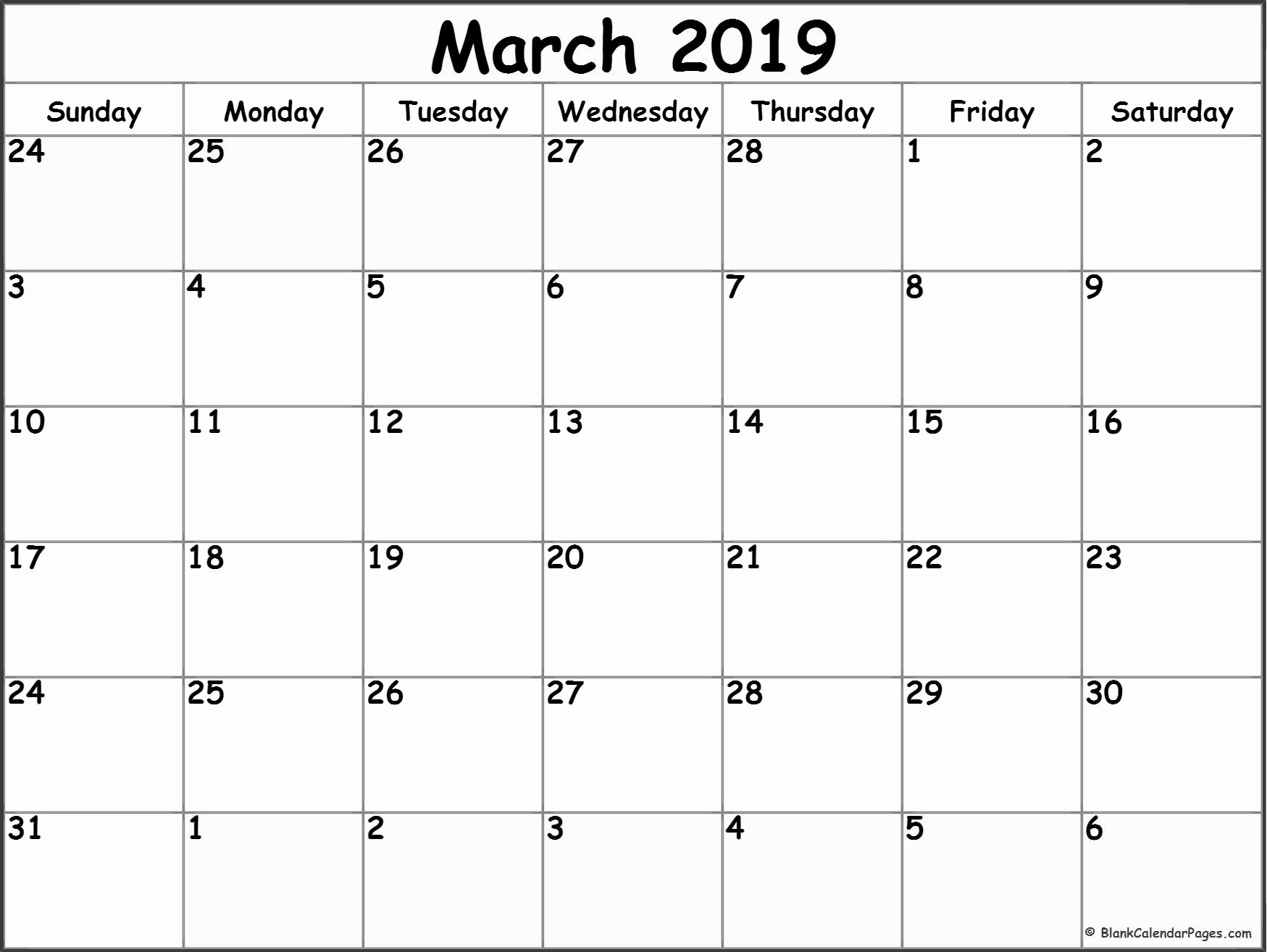 March 2019 Calendar Printable Template