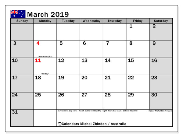 March 2019 Calendar with Holidays Australia