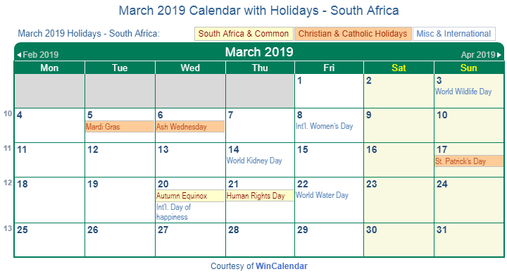 March 2019 Calendar with Holidays South Africa