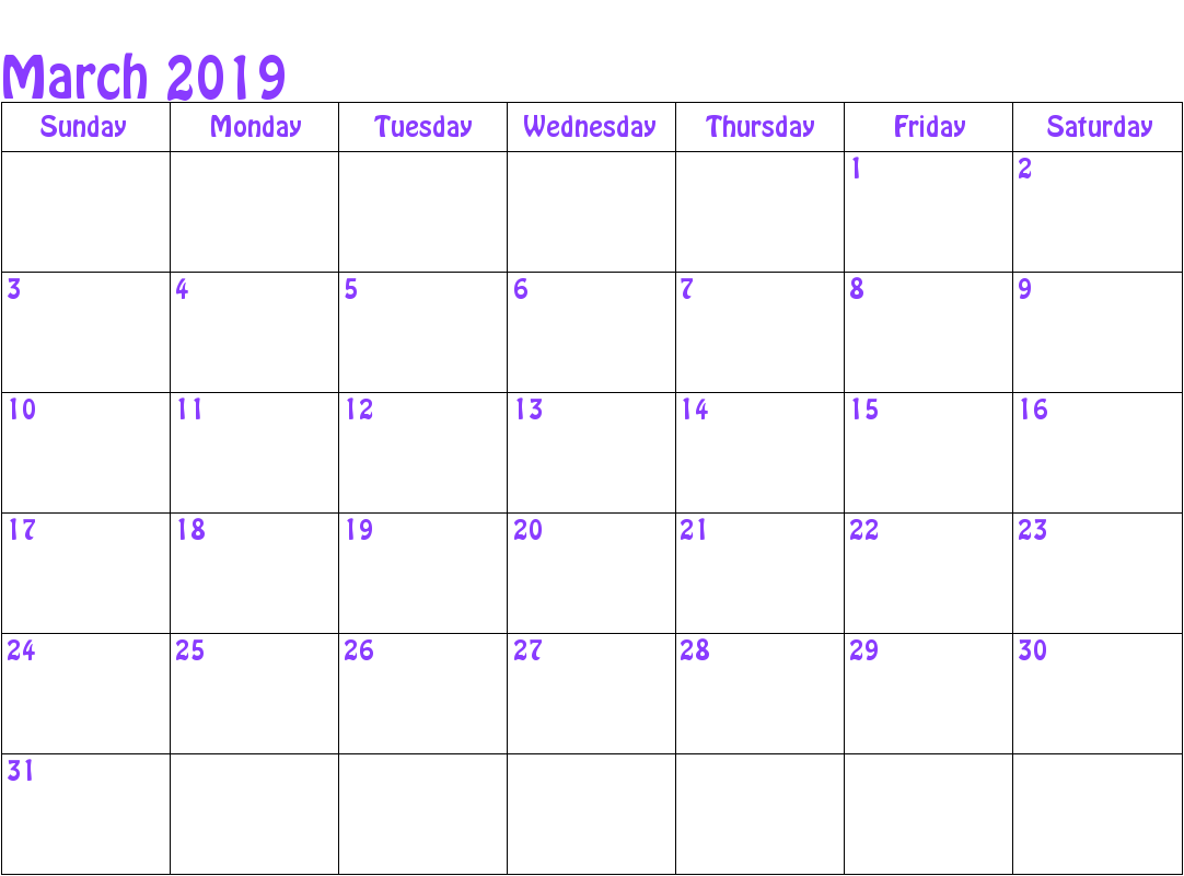 March 2019 Printable Calendar Word