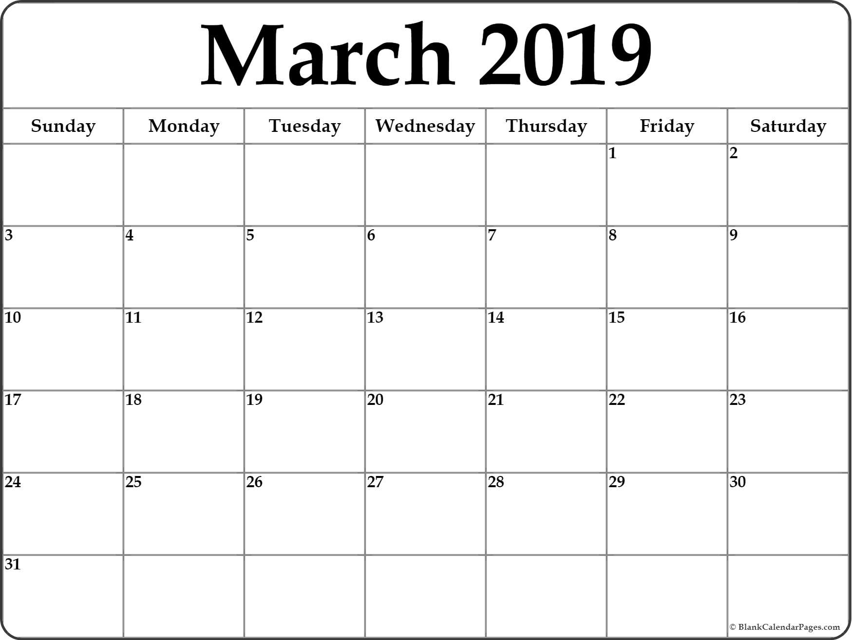 photo relating to Printable Calendar March referred to as March Calendar 2019 - Down load Totally free Printable Calendar