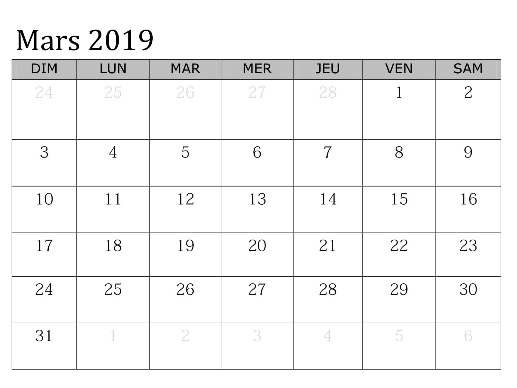 Mars 2019 Calendrier Table