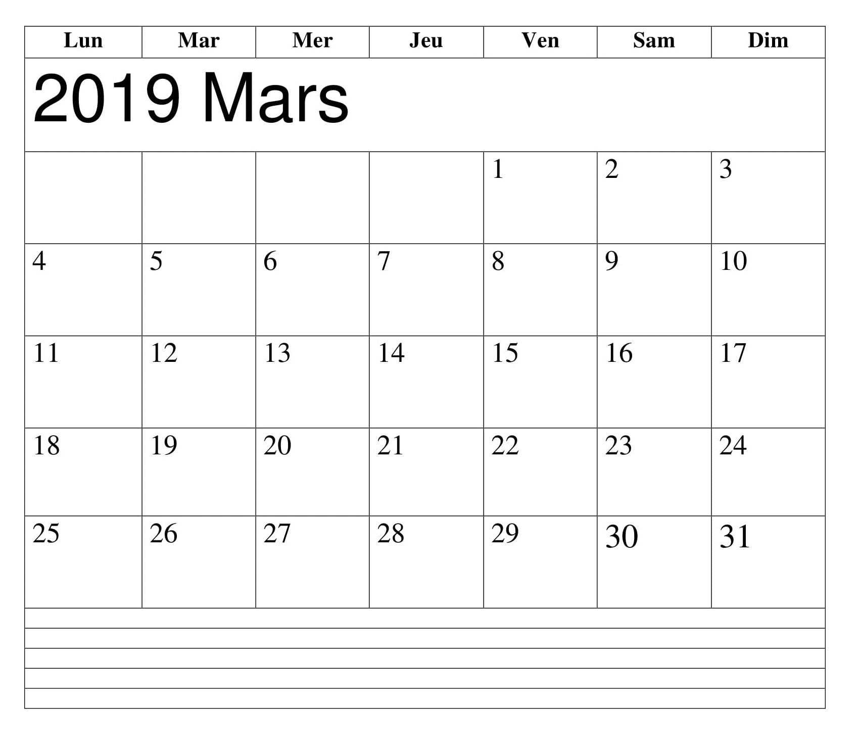 Mars 2019 PDF Imprimable Calendrier