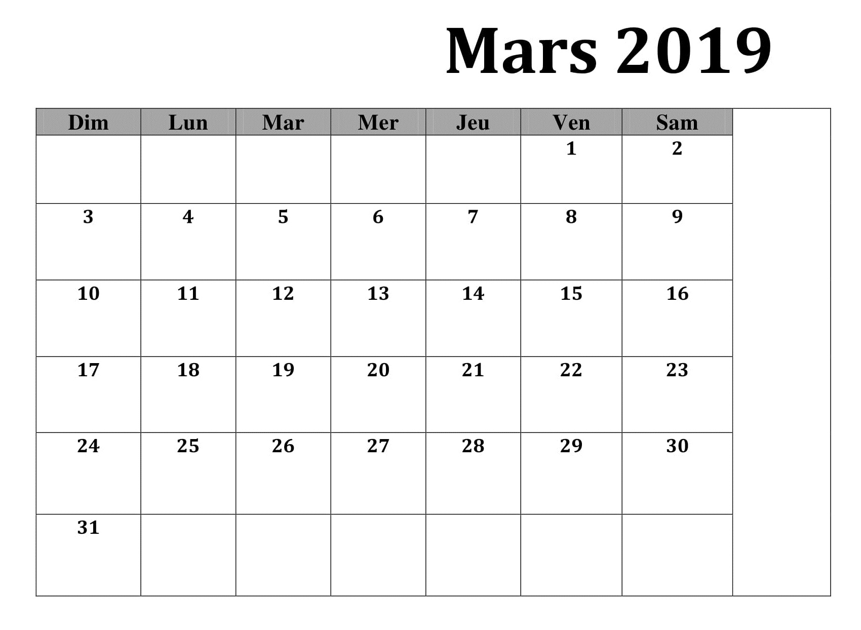 Mars Excel Calendrier 2019