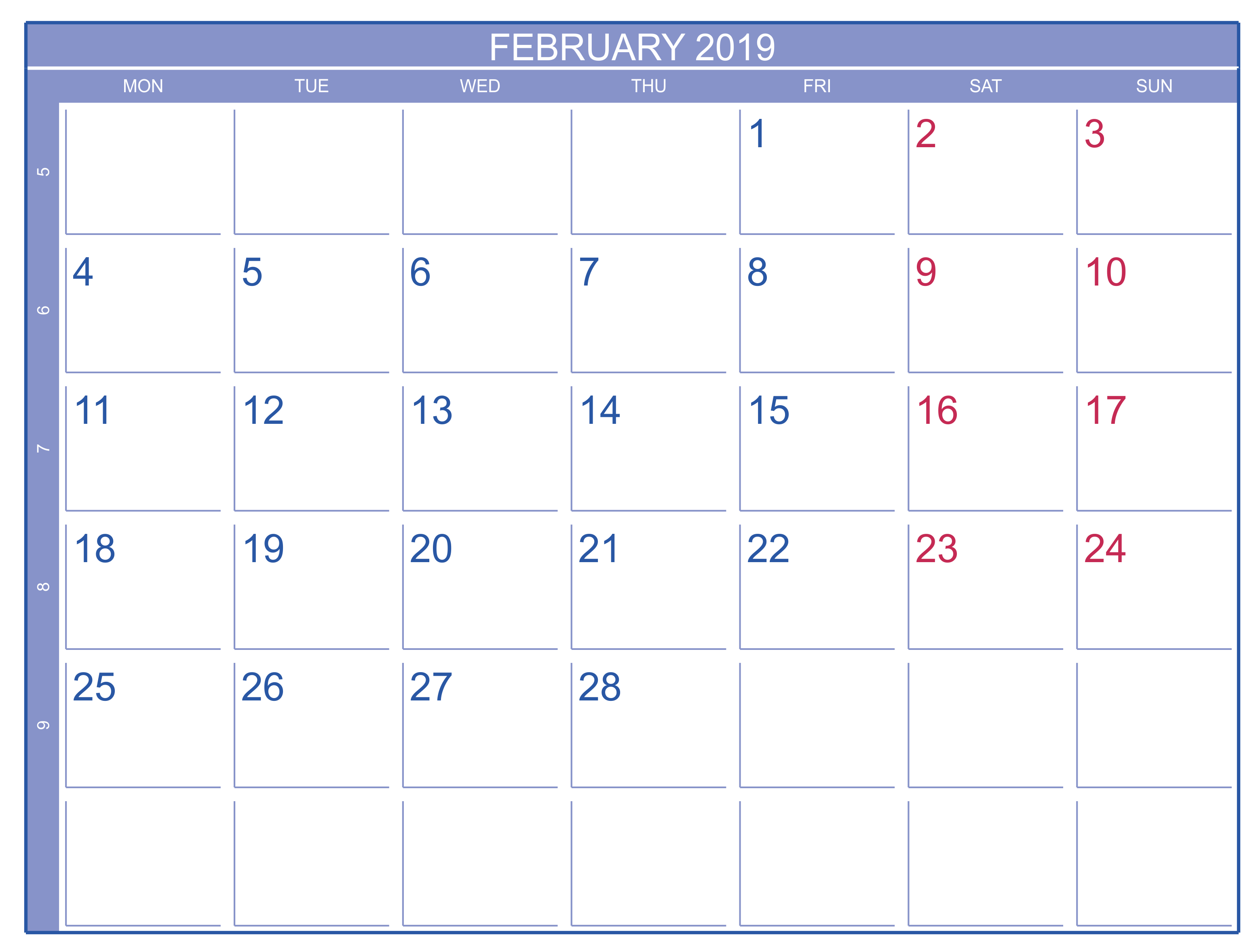 Monthly Calendar February 2019 Excel