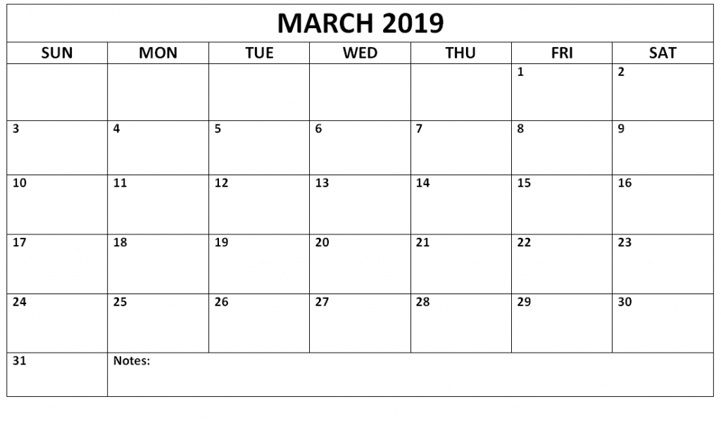 Monthly Calendar March 2019
