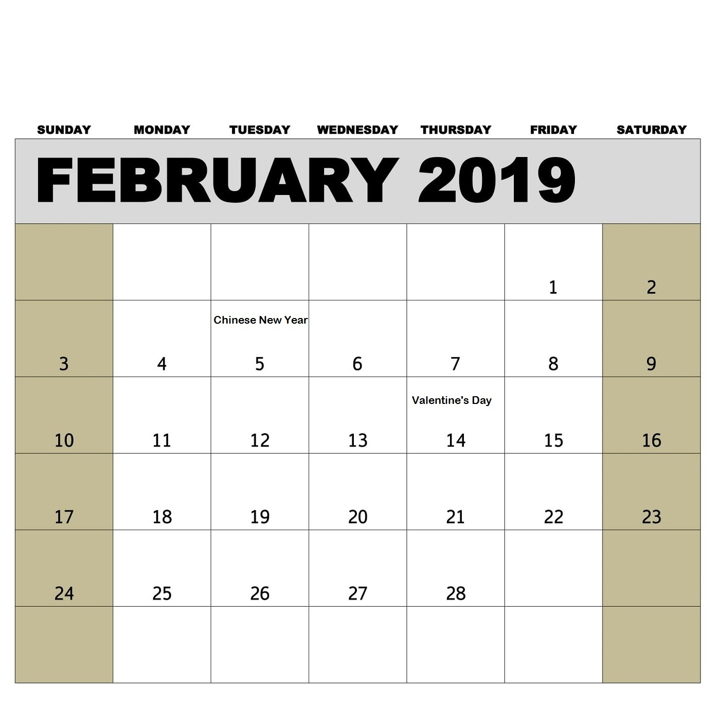 Printable February 2019 Calendar Personalized