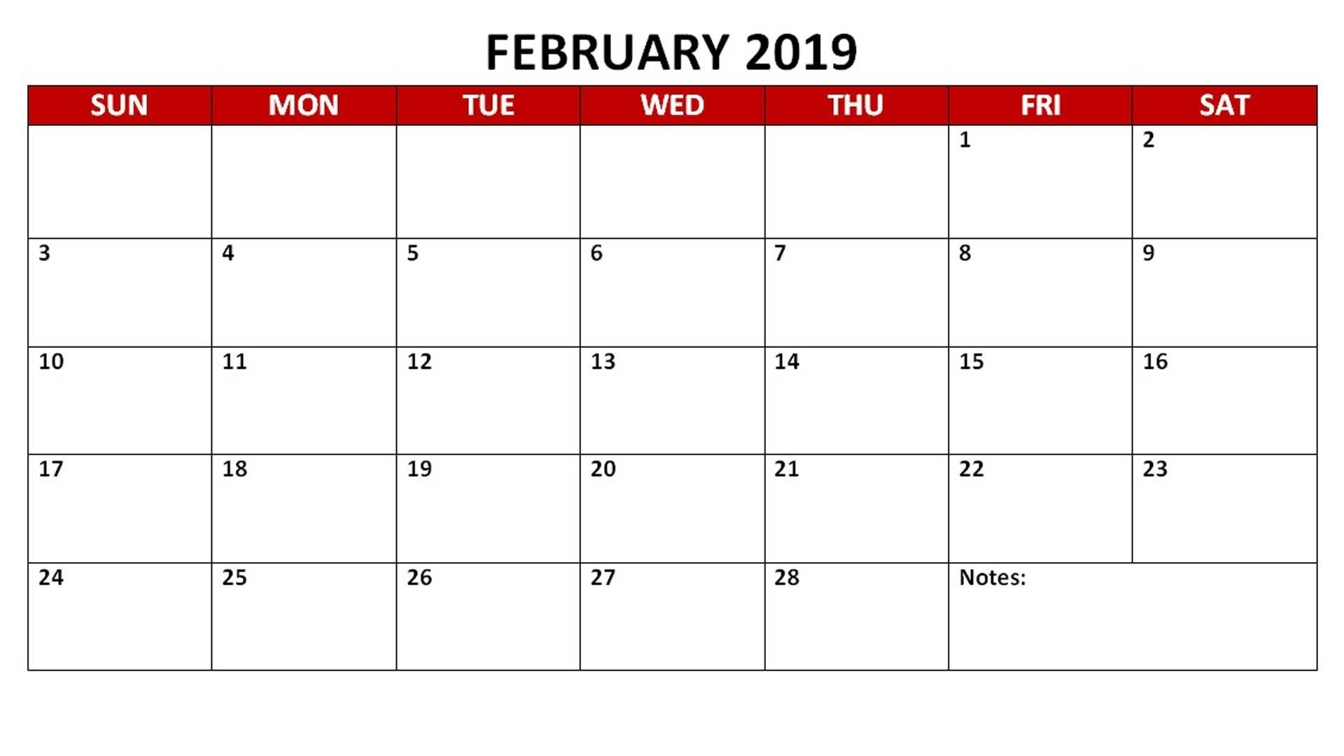 Printable February 2019 Personalized Calendar
