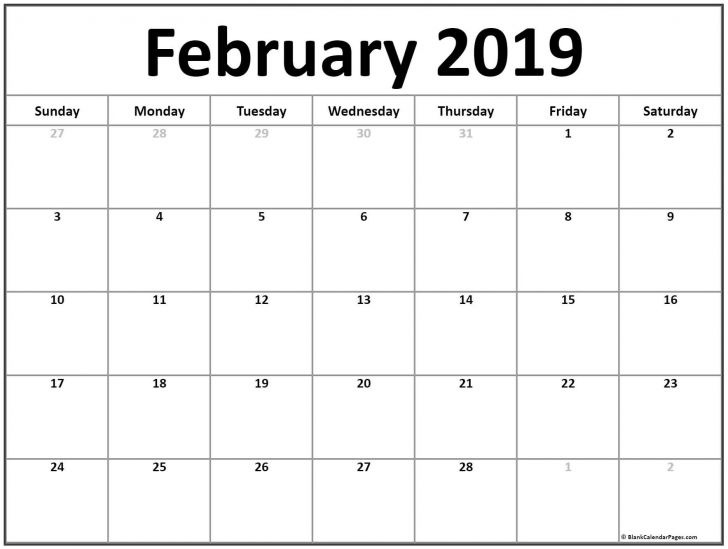 graphic about Free Printable Monthly Calendar With Holidays named Printable Month-to-month Calendar February 2019 - Obtain Totally free