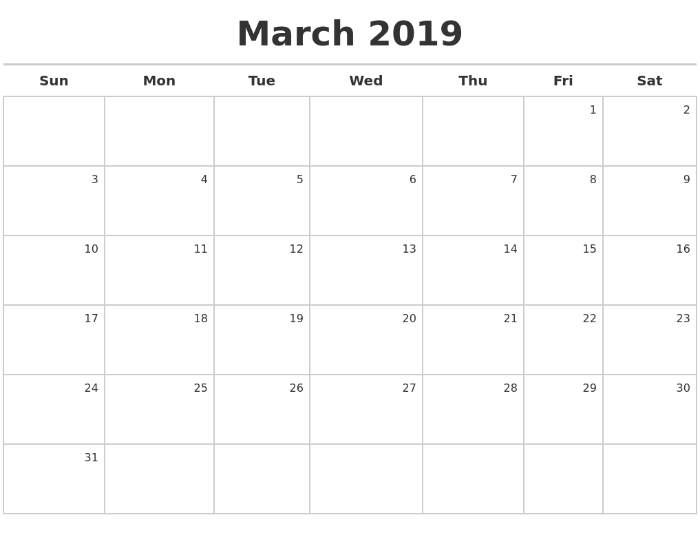 2019 March Calendar Kalnirnay