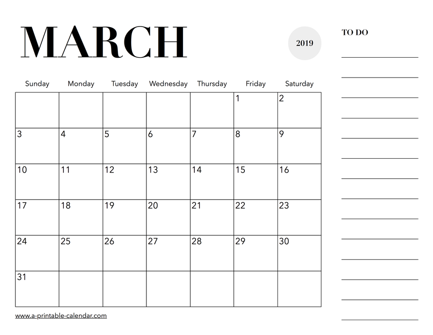 2019 March Calendar Malayalam